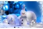 Снеговик и шарики - почтовая открытка 3D