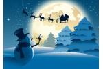 Летящий Дед Мороз и снеговик - почтовая открытка 3D