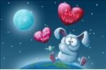 Кролик на воздушном шаре - почтовая открытка 3D