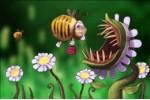 Пчела и хищное растение - почтовая открытка 3D