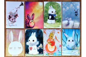 Набор из 8 открыток: Зайцы