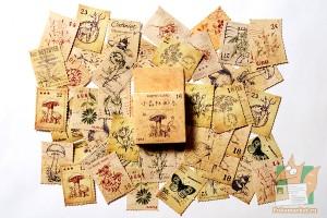 Набор из 46 наклеек: Винтажные марки с грибами