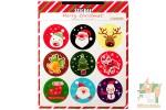 Набор из 9 круглых наклеек: Счастливого Рождества!