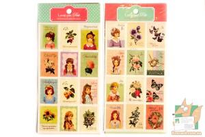 Набор из 24 почтовых наклеек с девочками и растениями