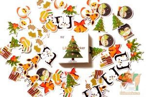 Набор из 50 новогодних наклеек: Ёлка