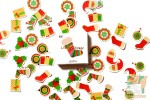 Набор из 50 новогодних наклеек: Носок