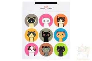 Набор круглых наклеек с кошками и куклами 18шт.