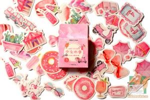 Набор из 46 наклеек: Розовое