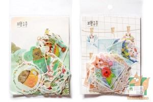 Наборы наклеек: Котики в конвертах и звери в чашках