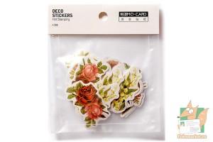 Набор из 45 наклеек: Фигурные цветы с золочением