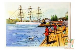 Открытка: Парусник Херсонес. Вид с Графской пристани. Севастополь