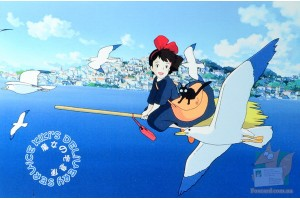 Почтовая открытка по мультфильмам Миядзаки - Кики и Дзи-дзи на метле