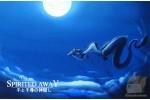 Почтовая открытка по мультфильмам Миядзаки - Тихиро и Хаку в небе