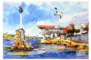 Открытка: Севастополь. Памятник затопленным кораблям