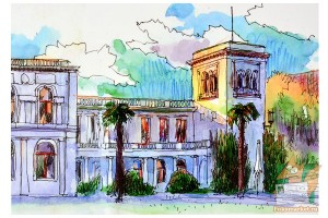 Открытка: Ялта. Ливадийский дворец