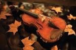 Открытка: Скрипка на листьях