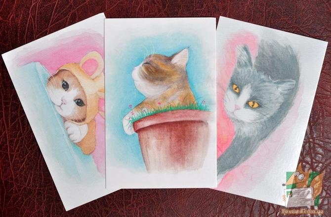 Набор почтовых открыток с кошками нарисованных акварелью