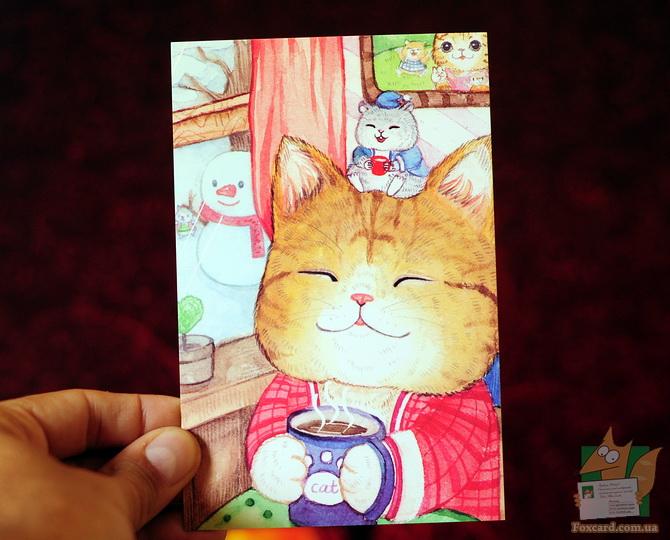 Набор почтовых открыток для посткроссинга - рисованные кошки