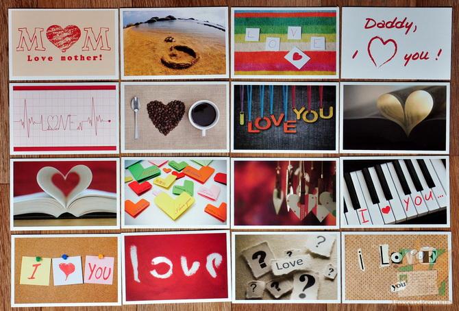 Наборы открыток с любовной темой I love you