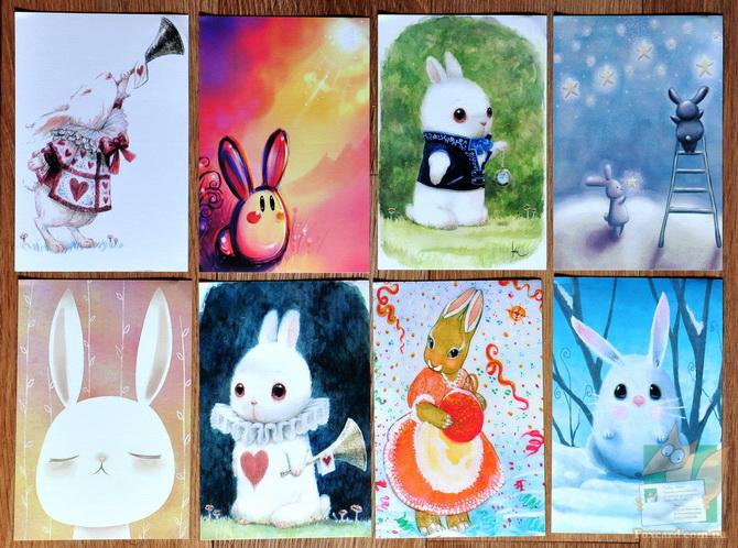Набор почтовых открыток с зайцами