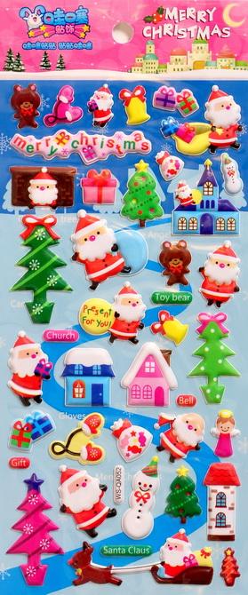 Дутые стикеры наклейки с Рождеством