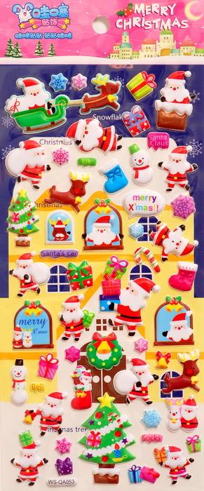Наклейки дутые с Дедом Морозом