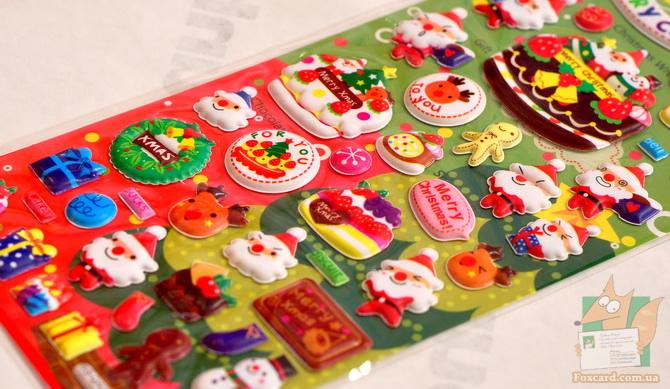 Наклейки дутые с Дедом морозом и рождеством