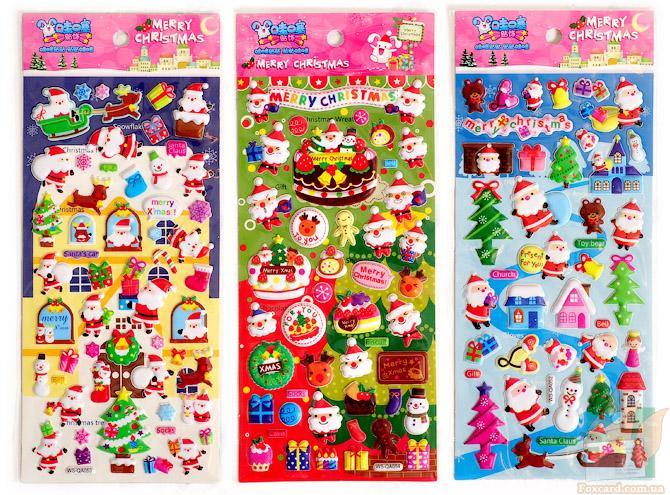 Дутые наклейки на зимнюю и рождественскую тему.