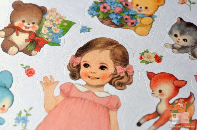 Набор наклеек (стикеров) винтажные куклы девочки