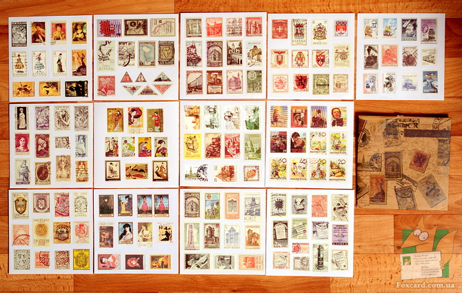 Наборы наклеек репринтов старых почтовых марок