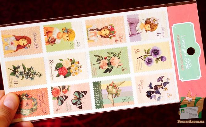 Наборы почтовых наклеек в виде марок.
