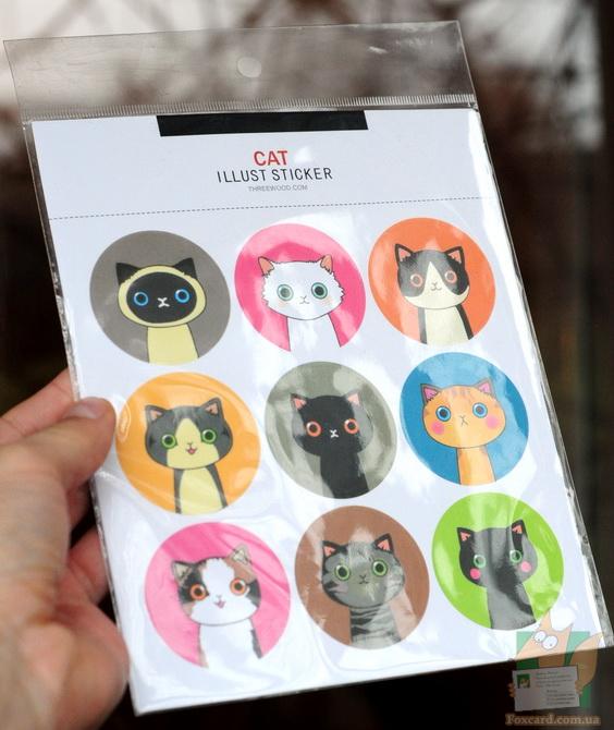 Круглые наклейки с кошками и куклами