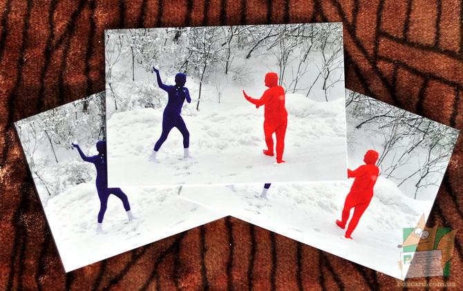 Снежки по русски - почтовая открытка
